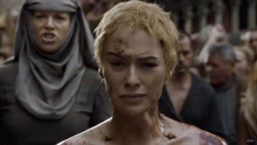 Cersei's Walk of Atonement from Season 5 of Game of Thrones. With few exceptions, the camera keeps her face in frame.